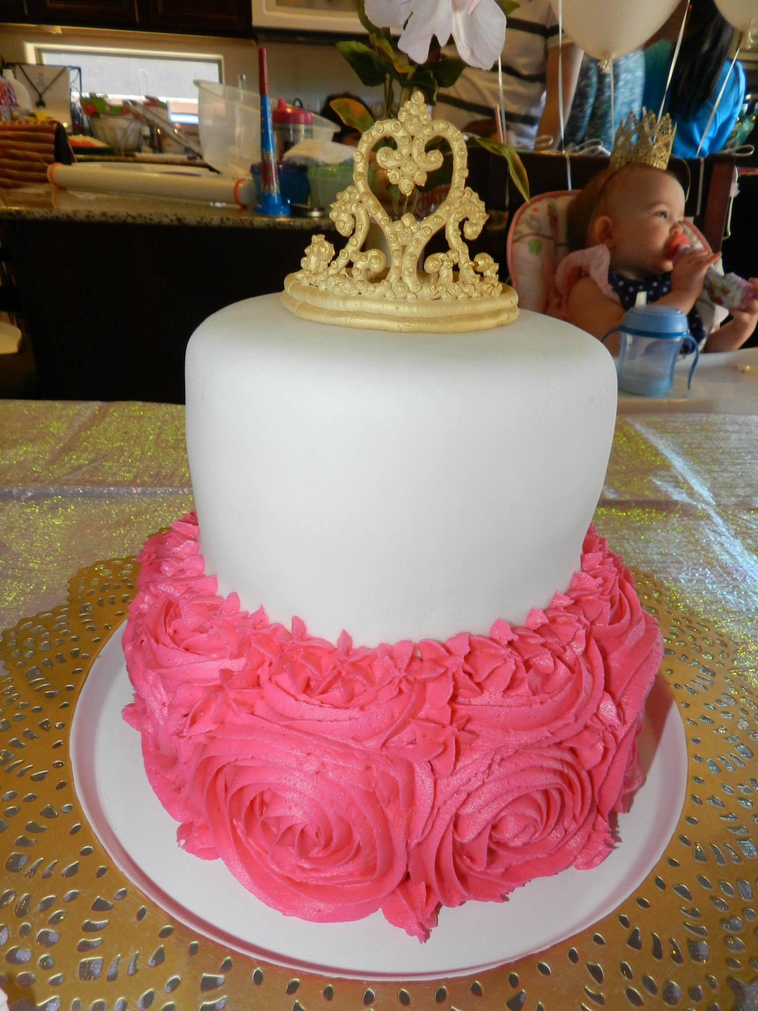 Two Tier Princess Birthday Cake White Fondant Royal Icing Gold