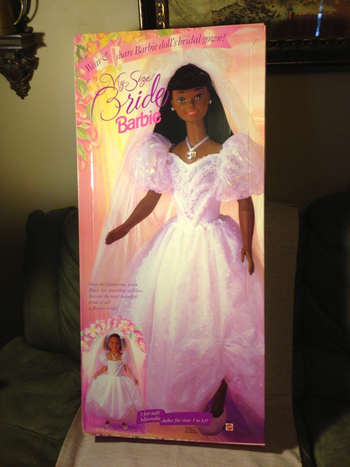 My Size Barbie African American Black Bride Doll New In Box 1994