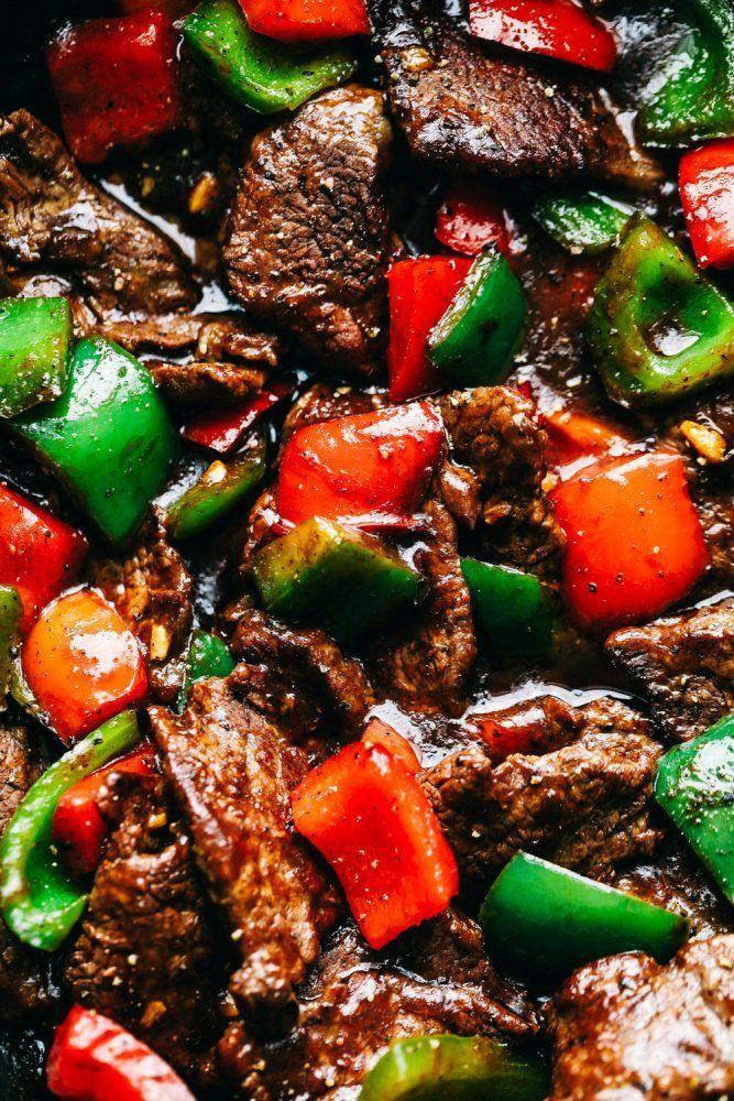 Amazing Pepper Steak Stir Fry #recipesforflanksteak