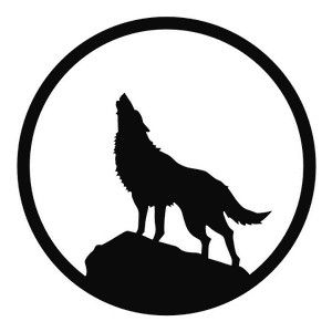 Howling Wolf Decal Sticker Motorcycle Helmet Graphics Wolf Silhouette Wolf Howling Wolf Tattoo Design