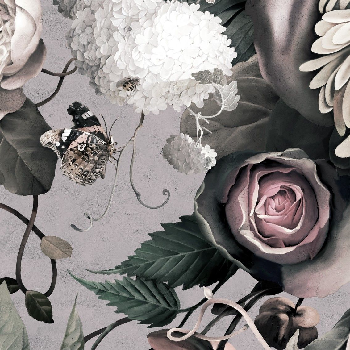 Dark Floral II Gray Fresco Sample Floral Wallpaper