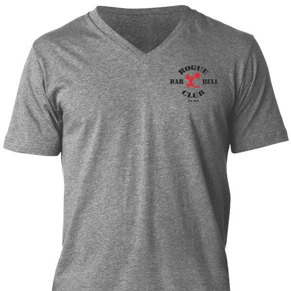 Rogue barbell club v neck shirt gray men s apparel rogue