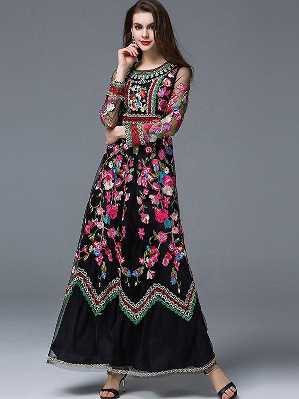7df72bc75190b Ethnic O-Neck Long Sleeve Embroidery Maxi Dress from DressSure.com # dresssure #fashion #dresses #HighQuality
