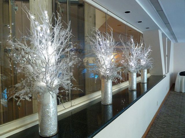 Winter Theme Party At Hyatt In Cambridge Ma With Icy Snowy Winter Branch Centerpieces With Images Winter Wonderland Party Winter Branch Centerpieces Winter Wonderland Decorations