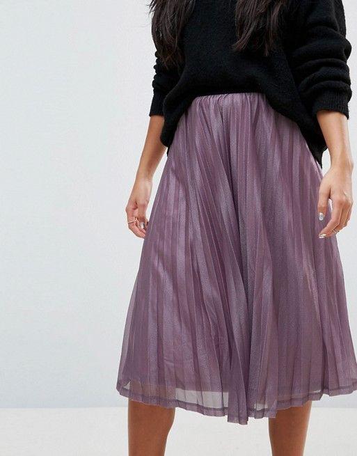 bcfeb7e45b0e Vero Moda Petite Glitter Pleated Midi Skirt | Skirts in 2019 ...