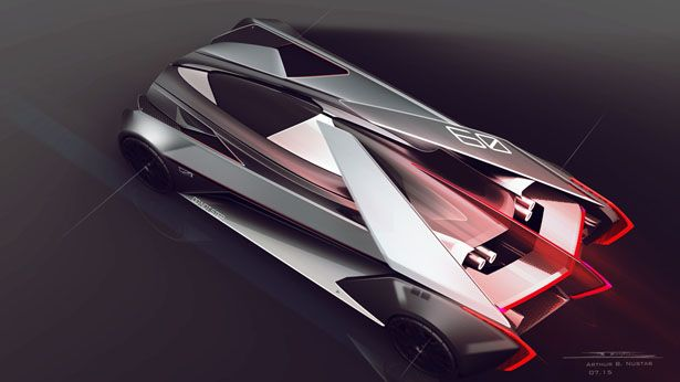 레이싱 게임인 그란투리스모에서의 캐딜락 컨셉 스케치입니다 고급 세단의 느낌이 사라지고 오로지 레이싱을 위한 차의 이미지가 강합니다 제품 디자인 디자인 제품