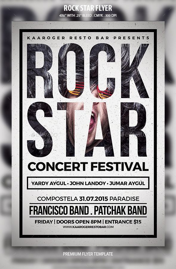 Rock Star Flyer | Rock, Flyer template and Star
