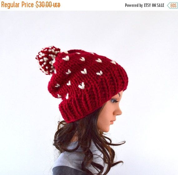 SALE Knit Chunky Fair Isle Pom Pom Slouchy Hat Beanie Toque // The ...
