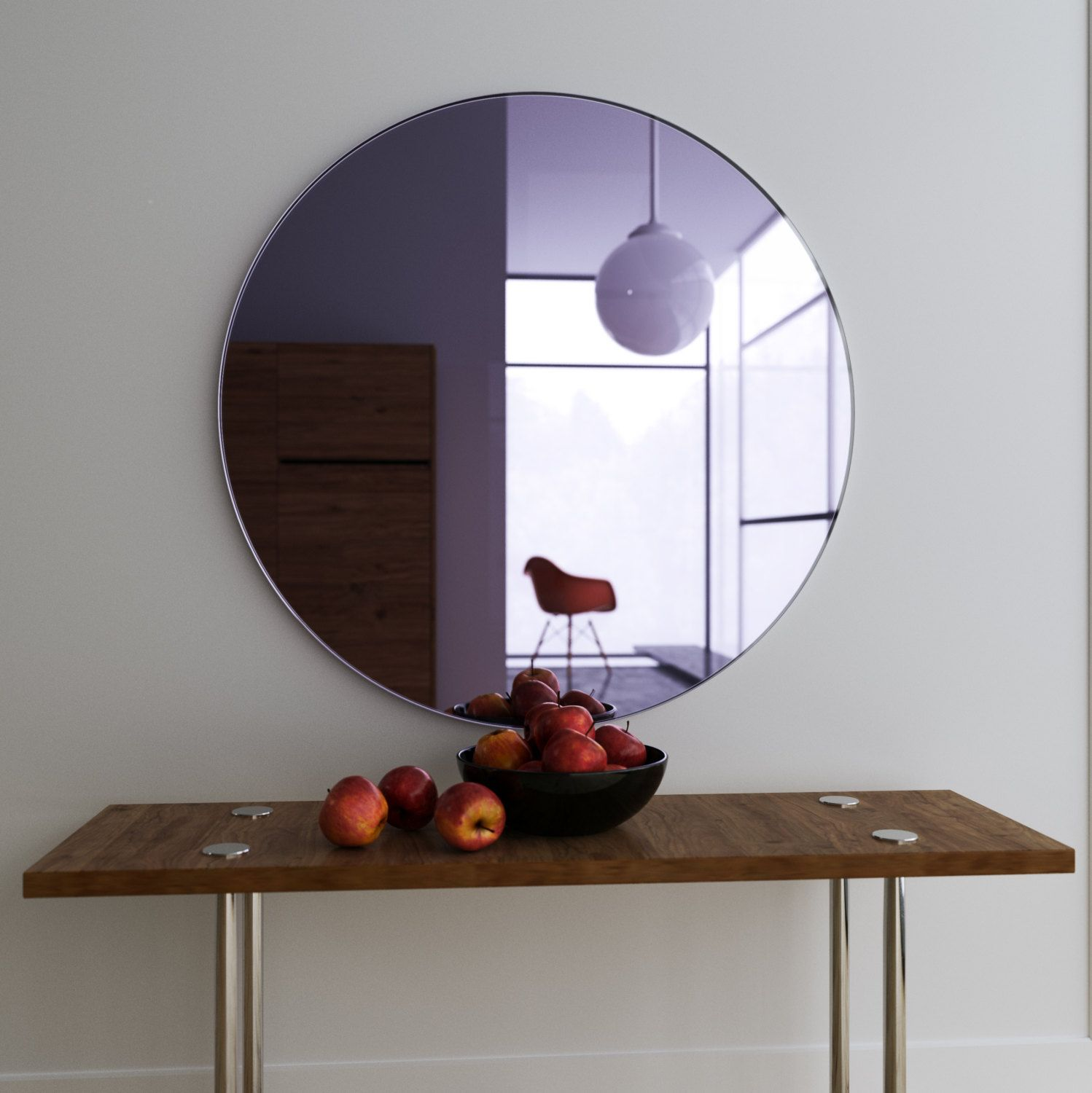 Purple wall mirror large hanging art deco mirror with handmade lavender glass and round chic shape