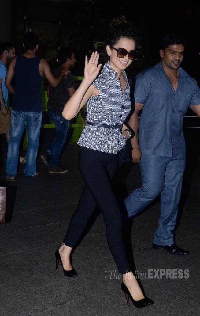 Kangana Ranaut at the Mumbai airport. #Bollywood #Fashion #Style #Beauty