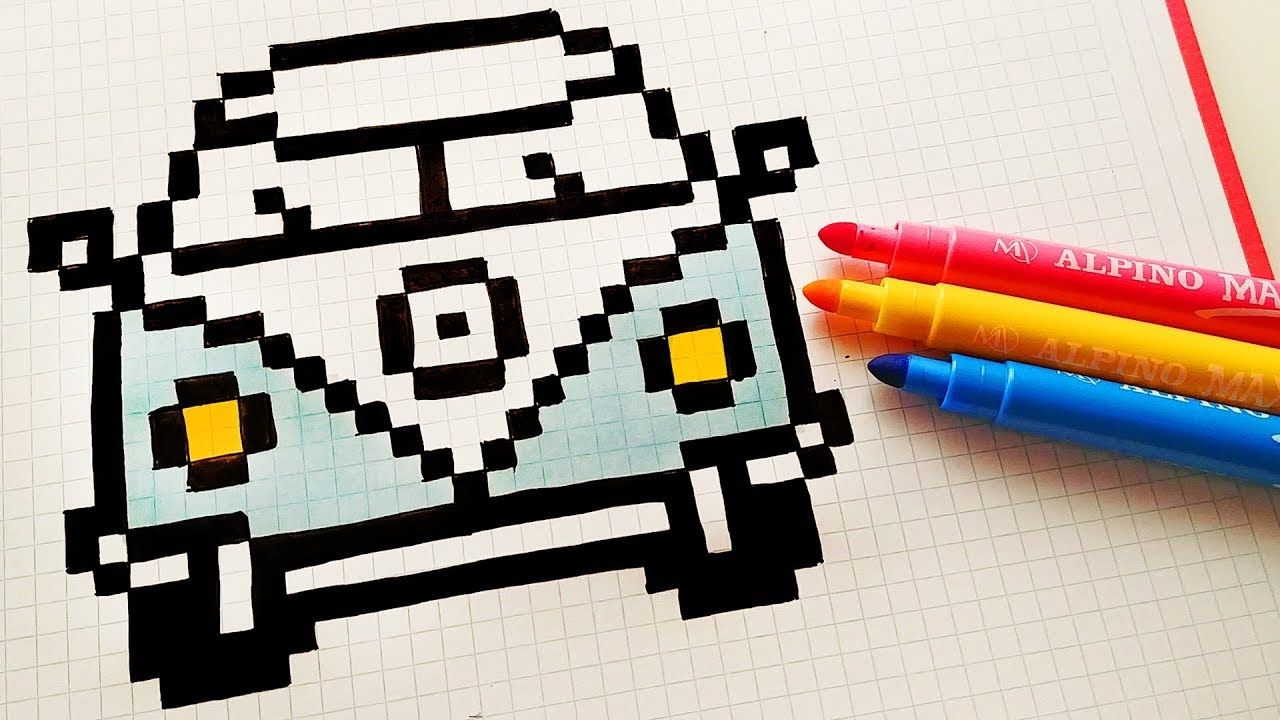 Pixel Art Hecho A Mano Cómo Dibujar Una Volkswagen Pixel