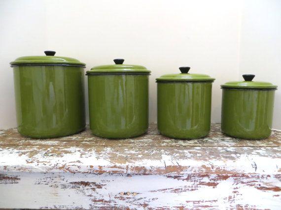 Vintage Green Enamel Canister Set By Vintagepingspree 40 00