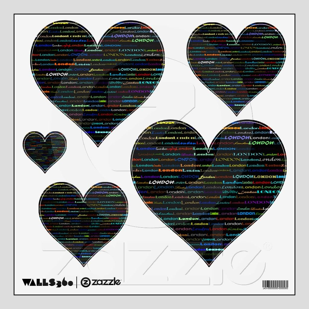 London Text Design I Wall Decals Simple Hearts Text Design Wall