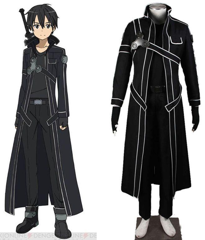 Anime Sao Sword Art Online Kirito Kazuto Kirigaya Trench Coat Cosplay Costume