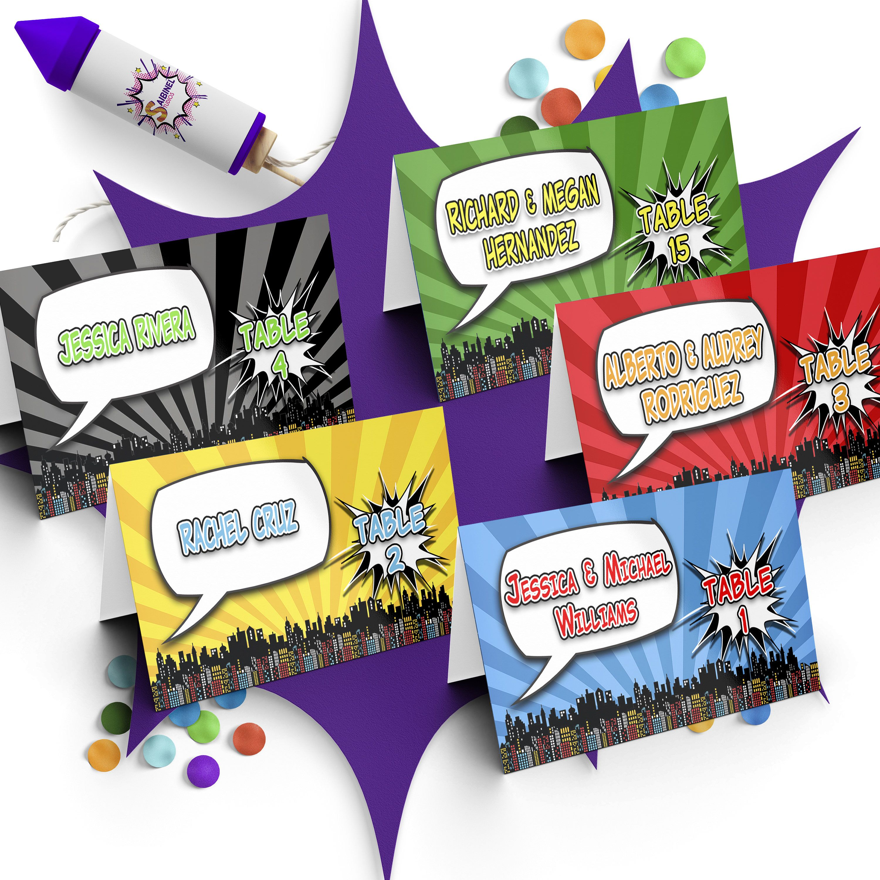Comic Book Wedding Place Cards Comic Book Place Cards Geeky