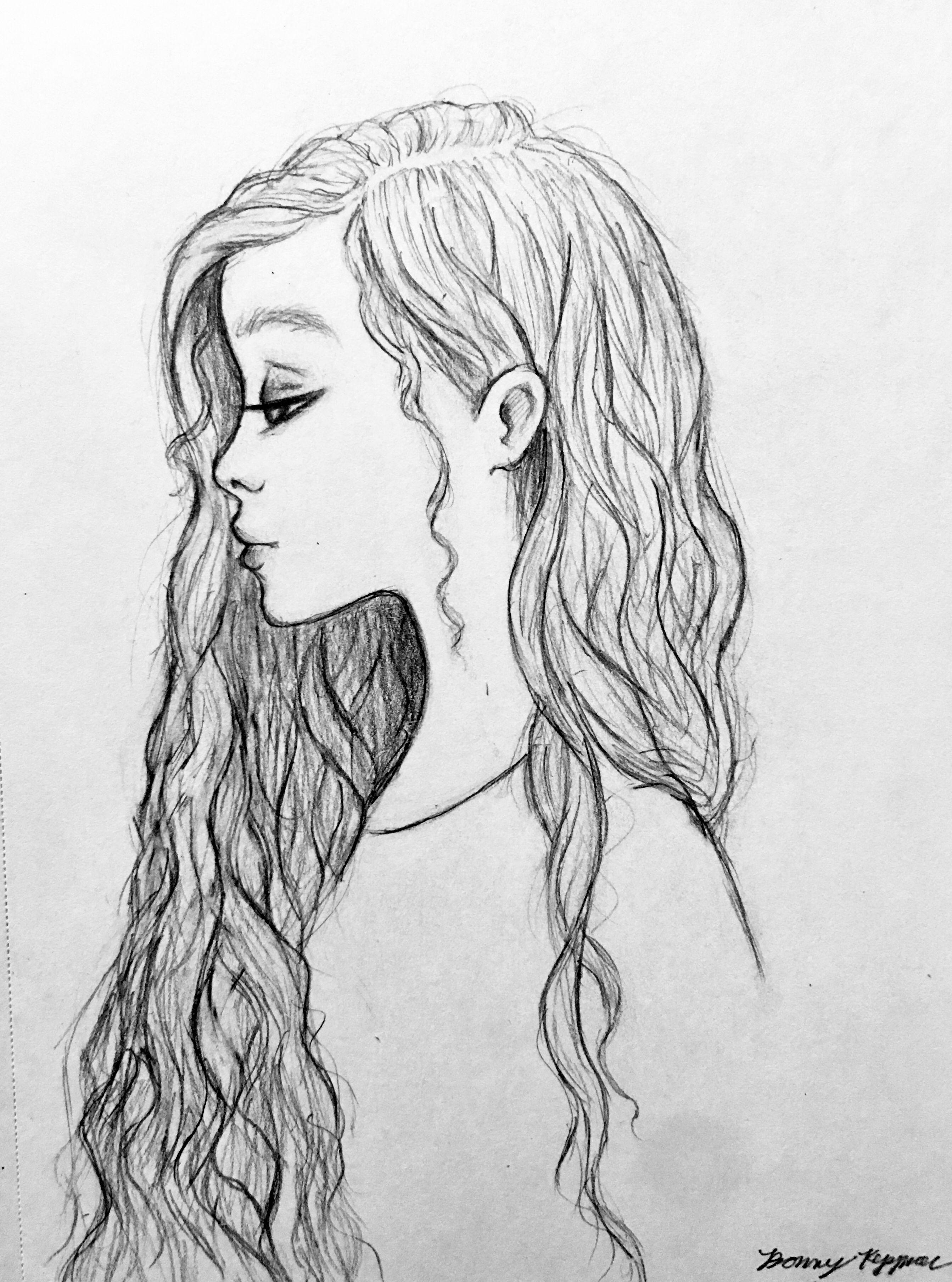 Girl With Long Hair Sketch Long Hair Drawing Hair Sketch Hard Drawings