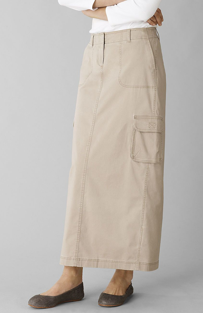 0e1dbdc88e Soft washed long chino cargo skirt | She Wears Skirts | Modest long ...