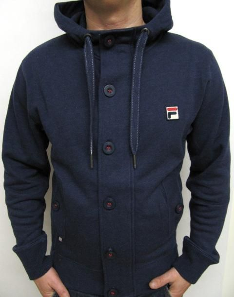 ea058dc5c454 Fila Vintage - Mysterion Hooded Track Top in Navy,button up hoody jacket  Ejercicios,
