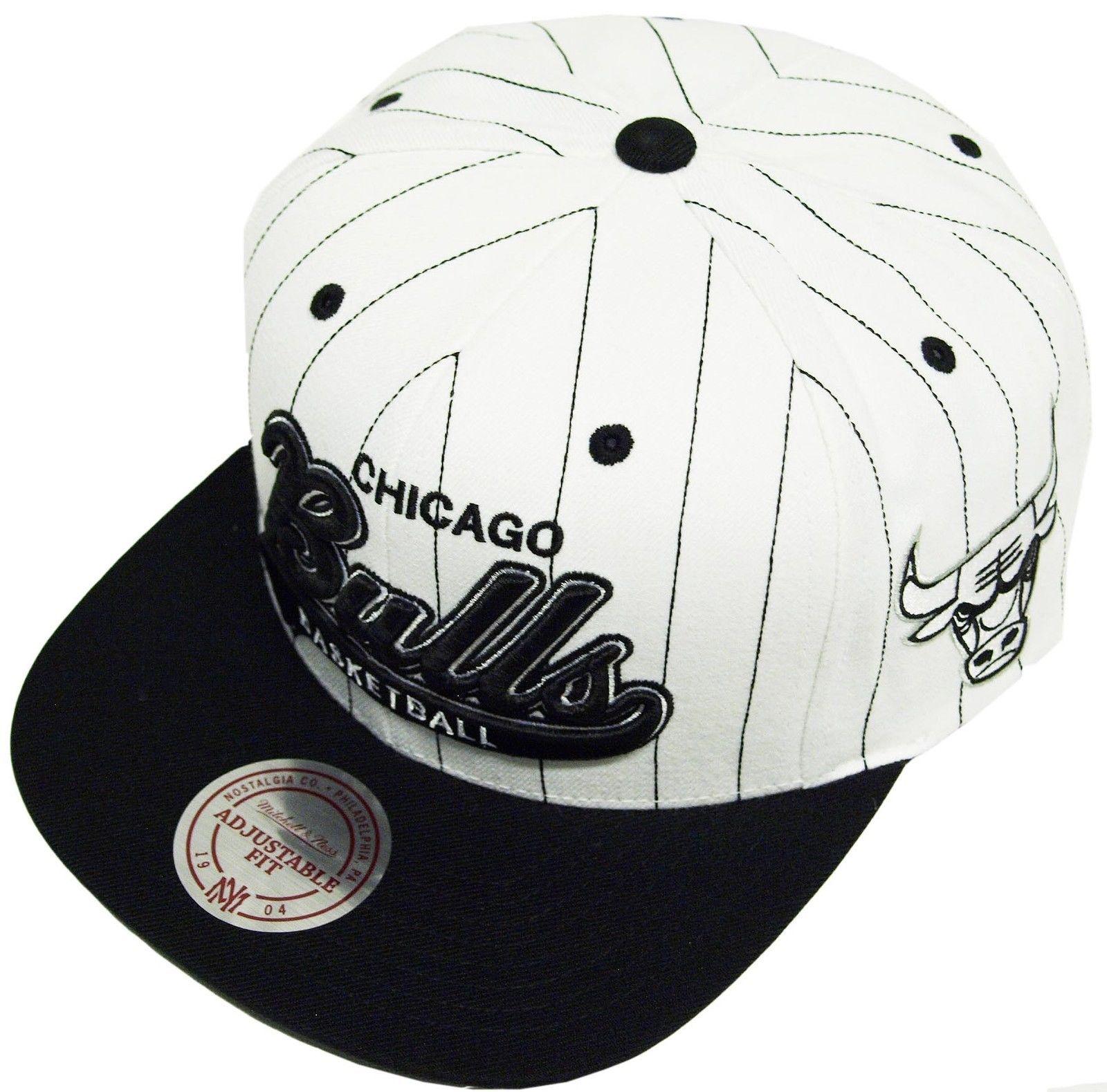 f097d487ff7 Mitchell Ness AND Chicago Bulls VB03Z Black White Pinstripe Snapback CAP