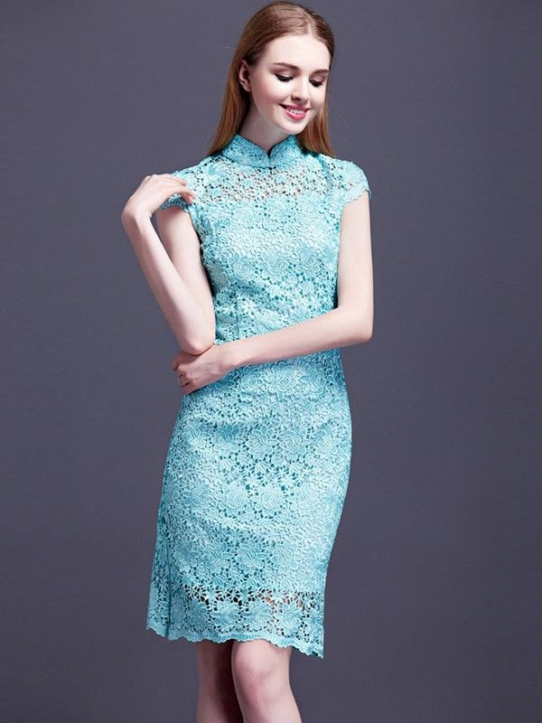 Sheel Lace Overlay Qipao / Cheongsam Dress for Winter | Qipao ...