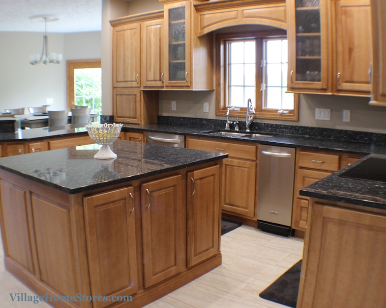 kitchen stores premade cabinets a restoration in colona il by village home featuring maple an autumn finish villagehomestores com