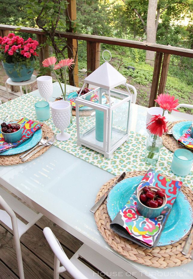 Outdoor Table Decor Ideas Patio Table Decor Summer Table Decor Ideas Tabledecor Outdoortabledecor Pat Colorful Table Decor House Of Turquoise Patio Decor