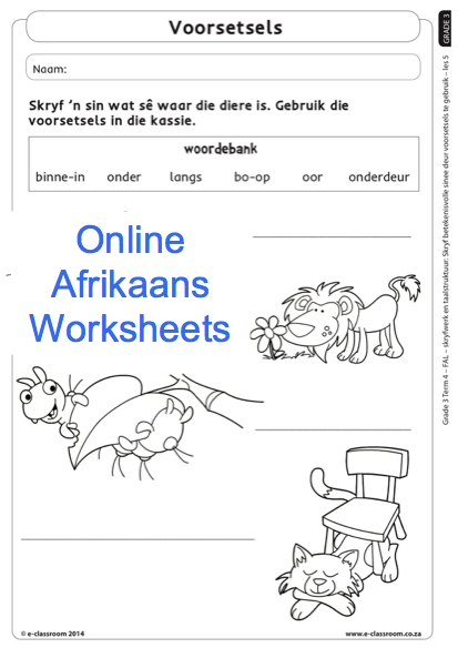 Grade 3 Online Afrikaans Worksheets Voorsetsels. For more visit www ...