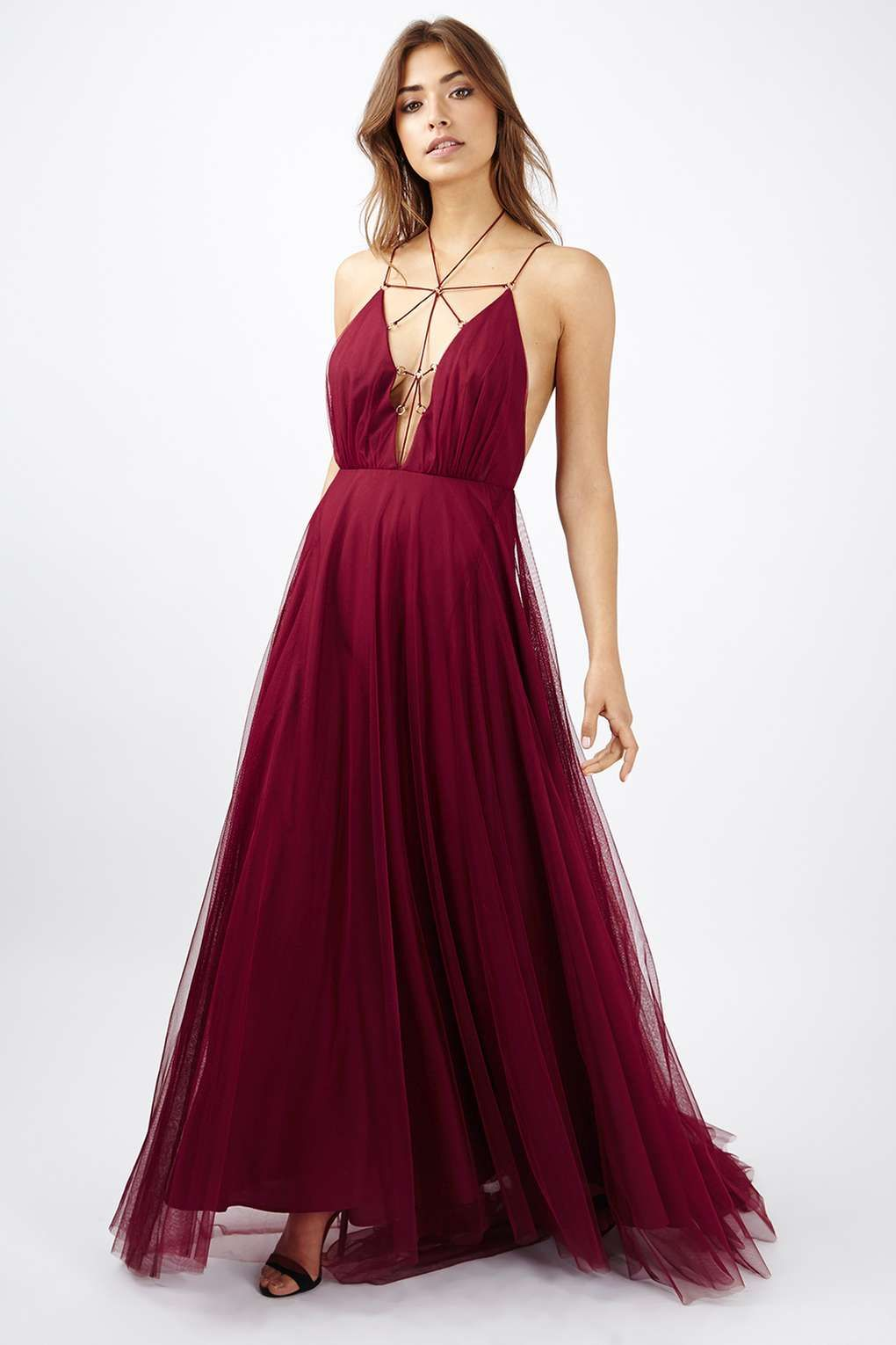 35175db131f This dreamy berry red tulle maxi dress is straight out of a fairy tale.