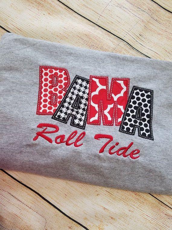 Bama Roll Tide Applique Raglan Sleeve Shirt - Alabama Houndstooth Roll Tide Bama Bella Raglan - Football Sports Fan Shirt -Alabama Raglan by BayBaysBoutique on Etsy