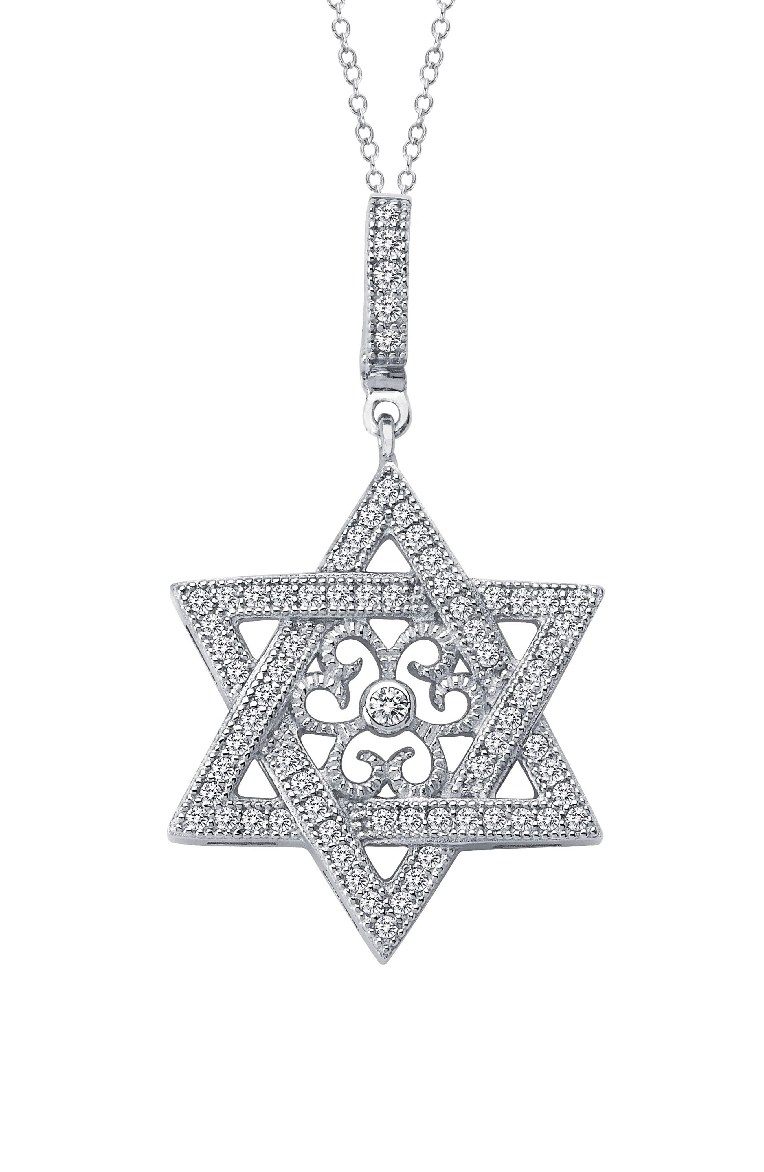 bdde14d73bc3a Women's Lafonn Star Of David Simulated Diamond Pendant Necklace in ...