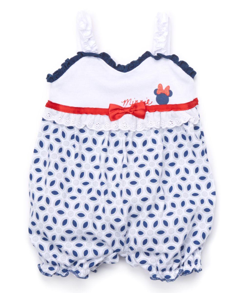 b5b9b3387527 Blue   White Minnie Mouse Romper - Infant