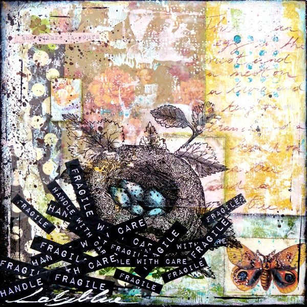 Fragile 1 : mixed media painting by Laly Mille
