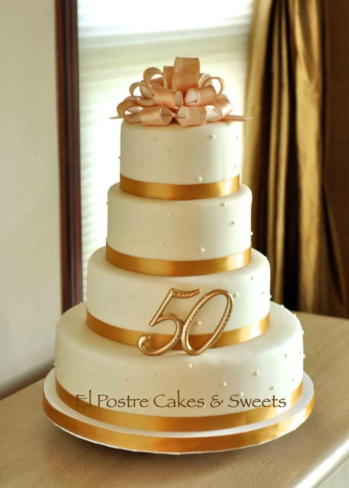 50th wedding anniversary cake - ivory and gold www.facebook.com ...