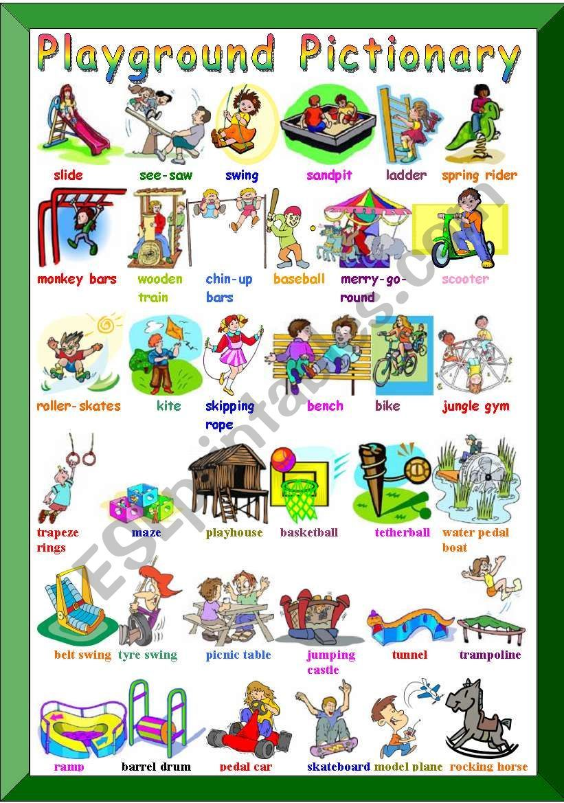 Playground Pictionary Worksheet Describing Characters Learning English For Kids Action Verbs [ 1169 x 821 Pixel ]