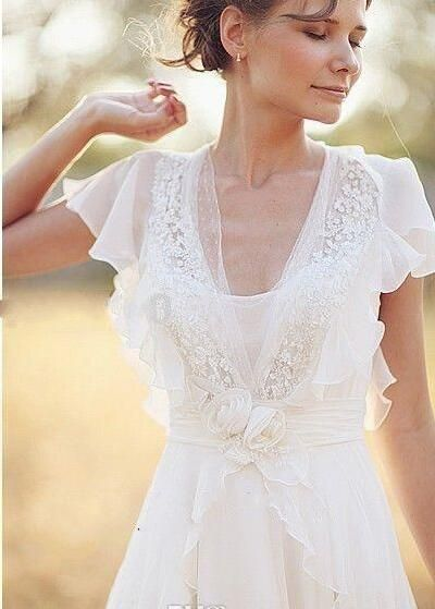 Neck Backless Bridal Dresses Flower Beading Sheer Sleeve Pleats Chiffon Wedding As Low 97 09 Also Dress Uk For