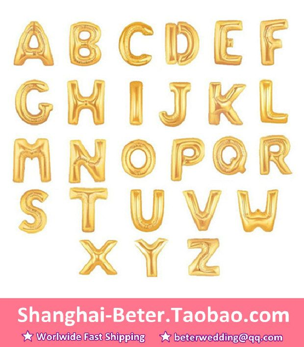 Httpworldtaobaoitemen530946376094m items similar to 16 inch letter balloons gold wedding birthday party baby bridal shower mylar foil on etsy junglespirit Image collections