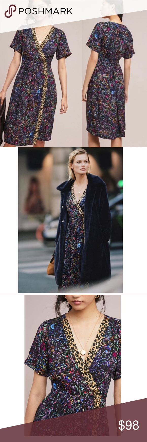 Directional Yet Demure Clothing For The Cool Modern Woman: ANTHRO/MAEVE FLORAL LEOPARD MOTIF DRESS NEW WITH TAGS