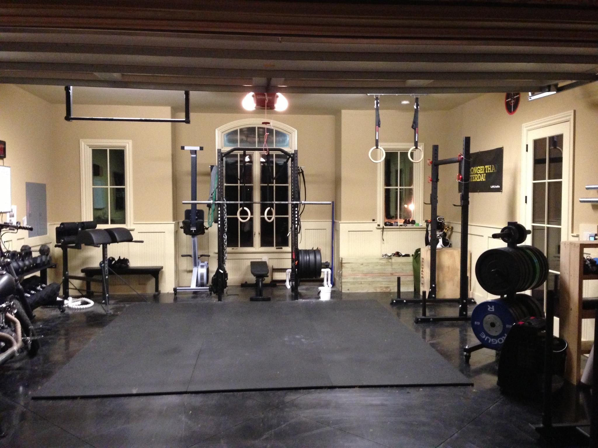 Weight Room Design Ideas Part - 38: Wonderful Blue Glas Cool Design Home Gym Room Wall Mirror Treasmil Beige  Wood Glass Iron Garage