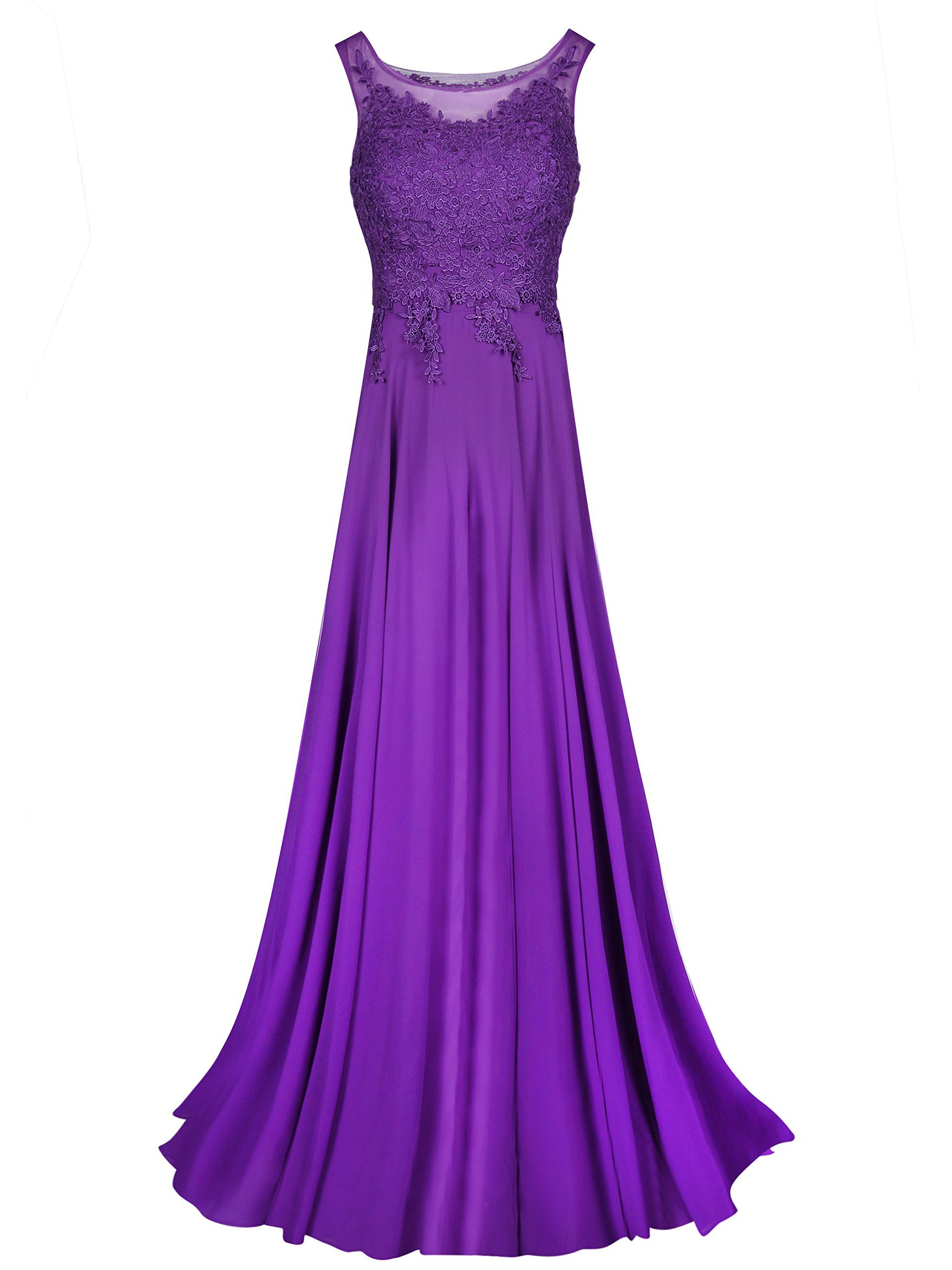 Tanpell Womens Straps Appliques Long Chiffon Formal Party Dress 8 Purple     Learn more by 5c021532c94e