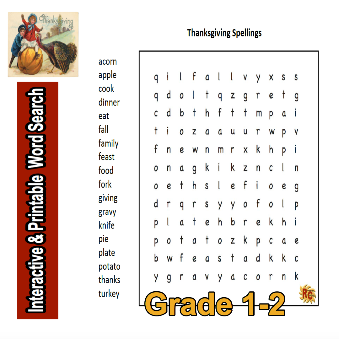 Thanksgiving Spellings Grade 1 2 Interactive Word Search