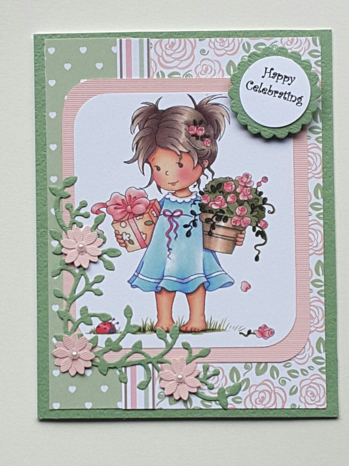 Girl with flowers and present birthday card birthday cards pinterest girl with flowers and present birthday card izmirmasajfo