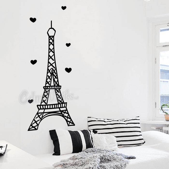 Vinilo Decorativo Torre Eiffel Con Corazones W177 Cdm Vinilos Decorativos P En 2020 Muebles De Dormitorio De Ninas Pared De La Habitacion Vinilos Para Habitaciones