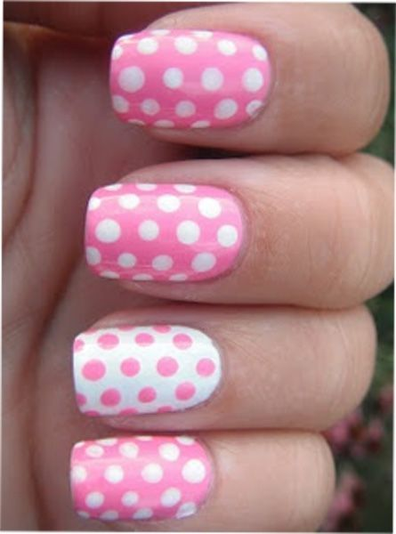 Cute White and Pink Dotted Nail Art