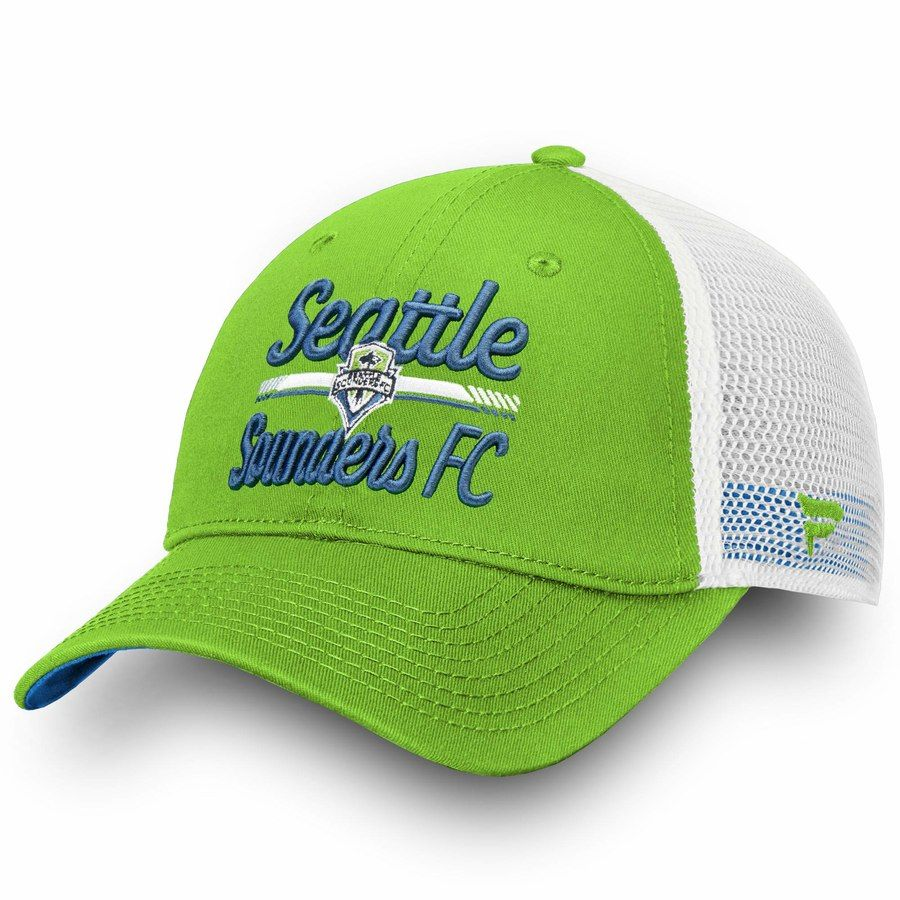 hot sale online bbf19 021db Women s Seattle Sounders FC Fanatics Branded Rave Green White Iconic Lockup  Trucker Adjustable Snapback Hat, Your Price   25.99