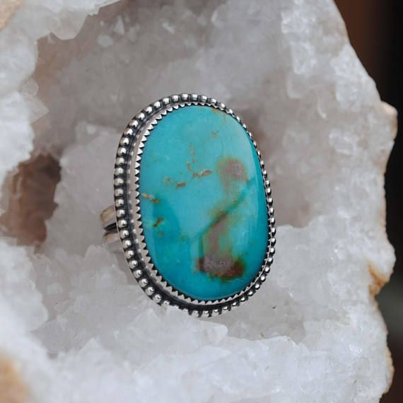 SIZE 8-8.25, Turquoise Mountain Turquoise Ring, Sterling Silver ...