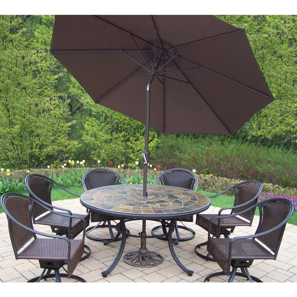 Oakland Living 9 Piece Metal Outdoor Dining Set With Brown