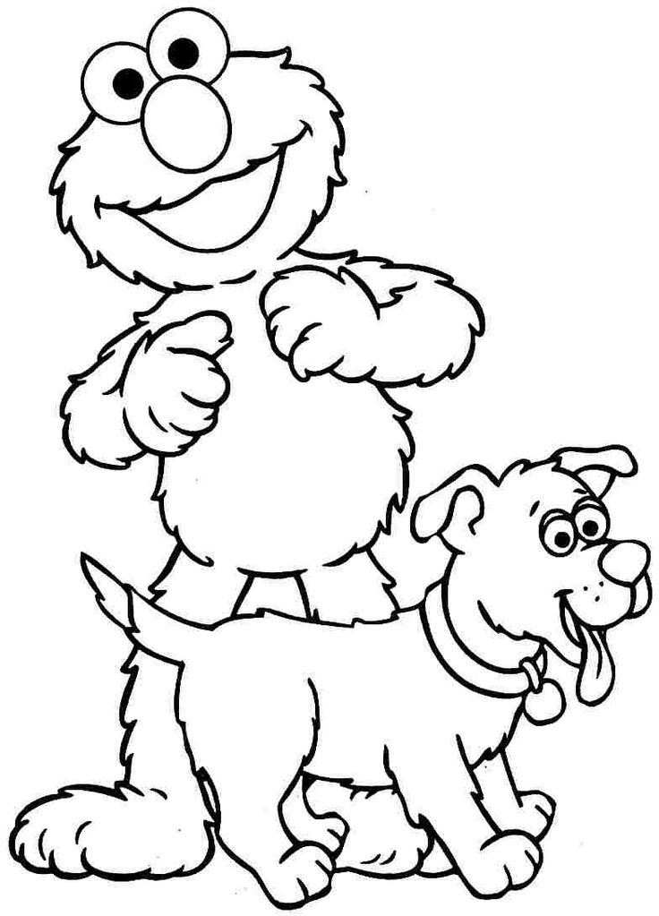 Free Printable Colouring Pages Cartoon Sesame Street Elmo And Zoe