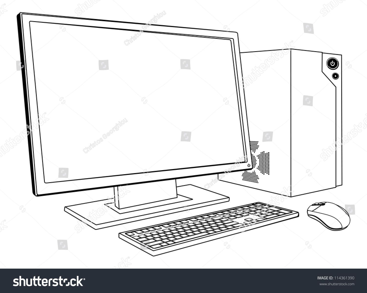 A Black And White Illustration Of Desktop Pc Computer Workstation Monitor Mouse Keyboard And Tower Ad In 2020 Black And White Illustration Desktop Pc Pc Computer