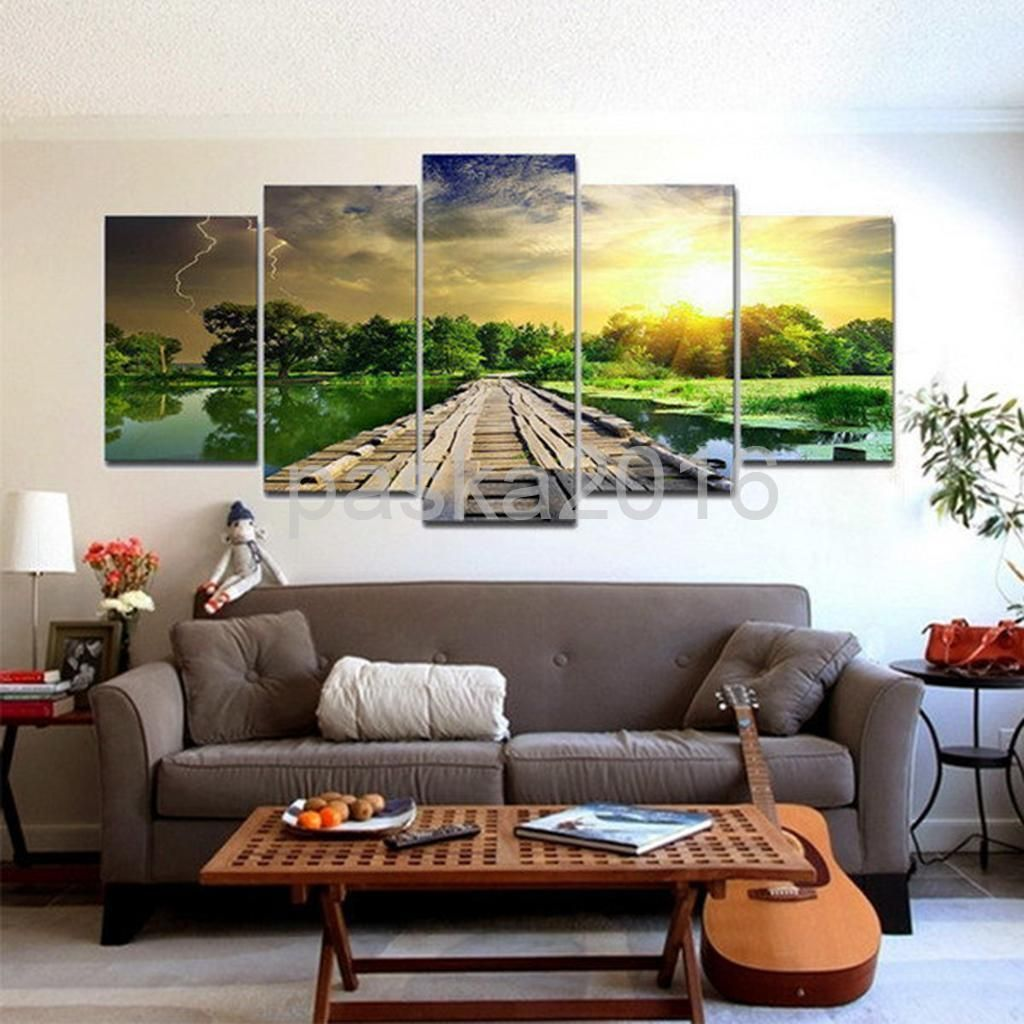Pcsset canvas decor wall art painting picture sunset scenry