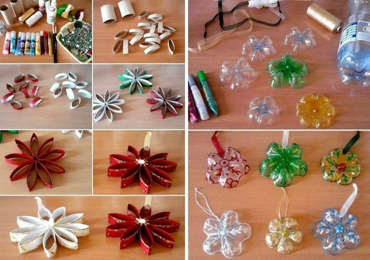 Christmas Decorations Using Toilet Paper Rolls And Plastic Bottles